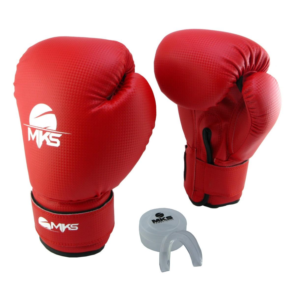 Luva de Boxe Prospect MKS Vermelha 12 oz + Protetor Bucal