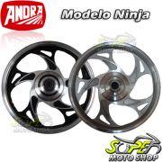 Rodas Dianteira e Traseira em Alum�nio Modelo Ninja - CG 125 Fan KS / ESi 2009 at� 2013 (Freio Tambo