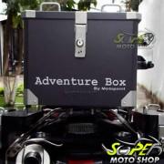 Bauleto / Ba� Top Case MotoPoint de Alumnio Adventure Box 33 Litros Preto + Base + Bolsas Internas -