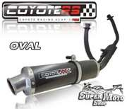 Escape / Ponteira Coyote RS4 Fibra de Carbono - Oval Comet 250 / GTR - Super Moto Shop
