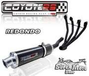 Escape / Ponteira Coyote RS4 Fibra de Carbono Redondo - GSX 750 F (4x1) Até ano 1997 - Super Moto Shop