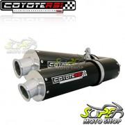 Escape / Ponteira Coyote RS3 Alumínio PAR Oval CBX 750 1987 até 1994 - Preto - Honda - Super Moto Shop