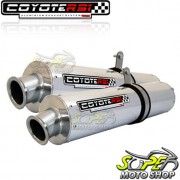 Escape / Ponteira Coyote RS3 Alumínio PAR Oval V-Max 1200 - Polido - Yamaha - Super Moto Shop