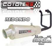 Escape / Ponteira Coyote RS2 Aço inox Redondo (2x1) - CB 400 / 450 - Super Moto Shop