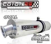 Escape / Ponteira Coyote RS2 Aço inox Oval (Par) - GSX 750 W - Super Moto Shop