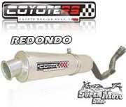 Escape / Ponteira Coyote RS2 Aço inox Redondo - XR 250 Tornado Ano 2007 em diante - Super Moto Shop