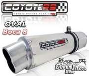Escape / Ponteira Coyote RS5 Aço Inox Oval boca em 8  - NX400 Falcon Até ano 2005 - Super Moto Shop