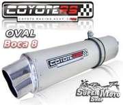Escape / Ponteira Coyote RS5 Aço Inox Oval boca em 8 (Par) -GSX Srad 1000 Até ano 2005 - Super Moto Shop