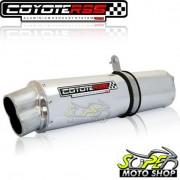 Escape / Ponteira Coyote RS5 Boca 8 Aluminio Oval YBR 125 até 2008 - Polido - Yamaha - Super Moto Shop