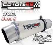 Escape / Ponteira Coyote RS5 Aluminio Polido Oval boca em 8 - Elefante 900 - Super Moto Shop