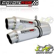 Escape / Ponteira Coyote RS5 Boca 8 Aluminio PAR Oval GSX Hayabusa 1300 até 2007 - Polido - Suzuki - Super Moto Shop
