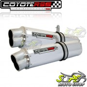 Escape / Ponteira Coyote RS5 Boca 8 Aluminio PAR Oval DR 800 - Polido - Suzuki - Super Moto Shop