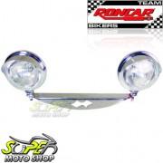 Jogo de Farol Auxiliar Kit Suporte + Faróis Cromados Com Abas Intruder 1500 - Suzuki - Super Moto Shop