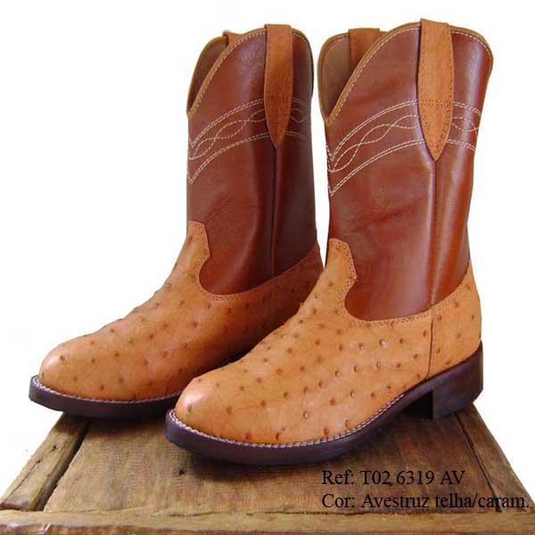 df60ad30b9 Bota texana couro de avestruz masculina/feminina T02 A 6319 R - GURIAN  COMPANY ...
