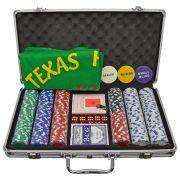 Maleta De Pôquer (jogo de poker) Com 300 Fichas Oficiais De 11,5 Gramas
