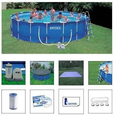 Piscina PVC Armação Redonda 24.311L  + Bomba Filtro + Escada + Proteção de Fundo - Intex 110v 24311 Litros #28251 - GIFTCENTER