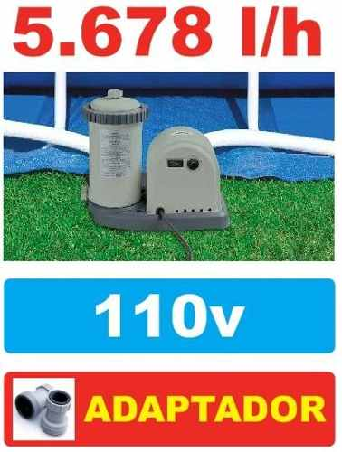 Bomba Filtrante Piscina Intex 5678 LH 110v #28635 + PAR DE ADAPTADORES B - GIFTCENTER