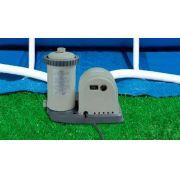 Piscina PVC Armação Redonda 24.311L  + Bomba Filtro + Escada + Proteção de Fundo - Intex 110v - GIFTCENTER