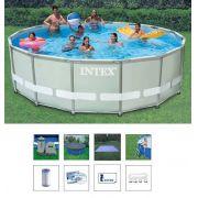 Piscina Intex 19156 Litros Completa Bomba Filtrante 110v Filtro Escada Capa Forro #28321 CJM - GIFTCENTER