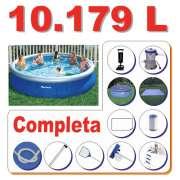 Piscina Bestway 10179 Litros com Bomba Filtrante 110v, Bomba de Inflar, Capa, Forro, Adesivo de Reparo, Escada, Refil Filtro e  Kit de Limpeza - GIFTCENTER