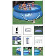 Piscina Intex 6734 Litros COMPLETA (bomba filtrante 110v, bomba de inflar, forro, kit de limpeza, escada e adesivo de reparo) - GIFTCENTER