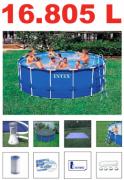 Piscina PVC Armação Redonda 16.805L + Bomba Filtro + Escada + Proteção de Fundo - Intex 110v - GIFTCENTER