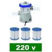 Bomba Filtrante Bestway 1249 LH 220v com 03 Refis Filtro para piscina (02 + 01) - GIFTCENTER