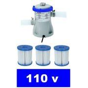 Bomba Filtrante Bestway 1249 LH 110v com 03 Refis Filtro para piscina (02 + 01) - GIFTCENTER