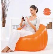 Poltrona Inflável Bestway Sofá Cadeira Puff Comfi Cube Laranja #75046 - GIFTCENTER