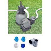 Bomba Filtro Intex Sistema de Areia Krystal Clear 110v 6.000 L/H #28645 + Par de Adaptadores B + Coadores e Conexões - GIFTCENTER