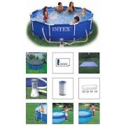 Piscina Intex 4485 L com Bomba Filtrante 220v + Capa + Forro + Kit de Limpeza + Escada - GIFTCENTER