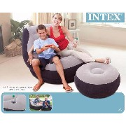 Conjunto Poltrona e Puff Cinza Intex Ultra Lounge #68564 - GIFTCENTER