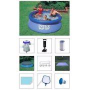 Piscina Intex 2419 Litros + Bomba Filtro 220v + Bomba de Inflar + Capa + Forro + Kit de Limpeza + Flutuador + Adesivo - GIFTCENTER