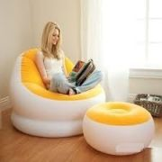 Conjunto Poltrona e Puff AMARELO Intex Lounge Chaise #68572 - GIFTCENTER