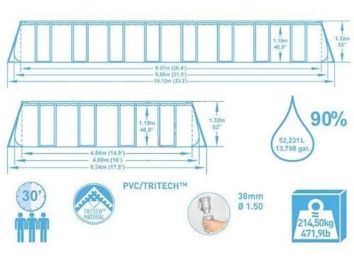Piscina Bestway 52231 Litros Retangular Capa Forro Escada Bomba Filtro 220v #56623 - GIFTCENTER