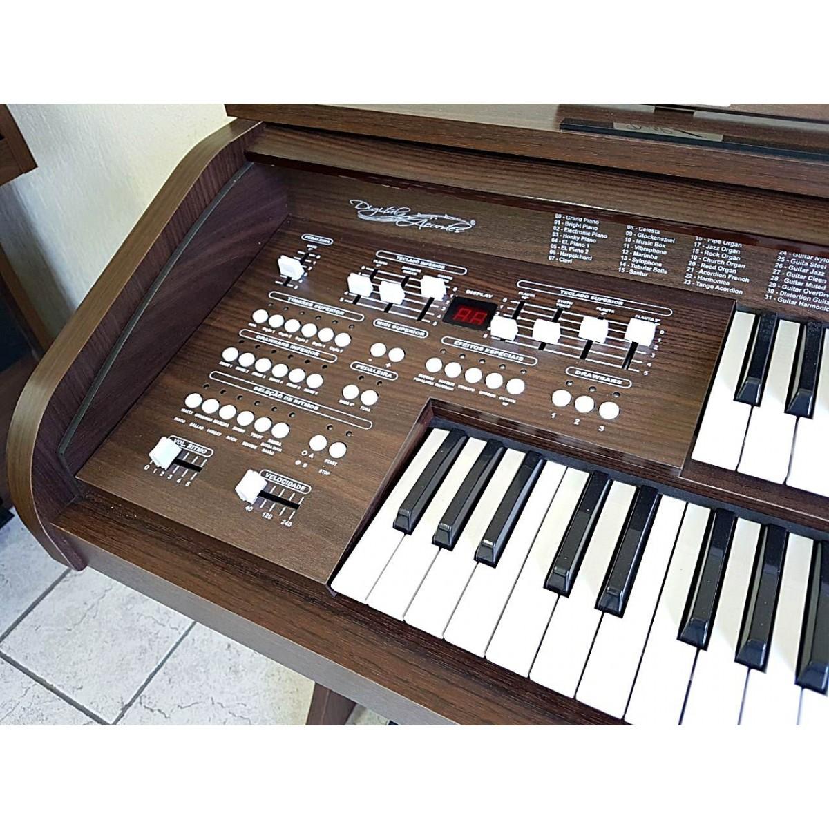 Órgão Eletrônico Acordes DSPIC 2D Tabaco  - Teclasom Instrumentos Musicais Ltda