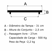 Tampão Aterramento 31cm em FF - FUNDIÇÃO VESUVIO