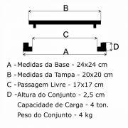 Tampão T 20x20cm Articulado Pesado em FF - FUNDIÇÃO VESUVIO