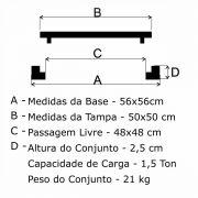 Tampão T 50x50cm Cisterna Pc Articulado Em FF - FUNDIÇÃO VESUVIO
