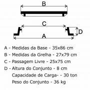 Grelha Boca de Lobo GR-95 Articulada CL300 (27x79cm) em FFN - FUNDIÇÃO VESUVIO