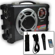 Caixa Som Portatil Usb Karaoke Fm Mp3 Rca Mic 120W Sd Amplif