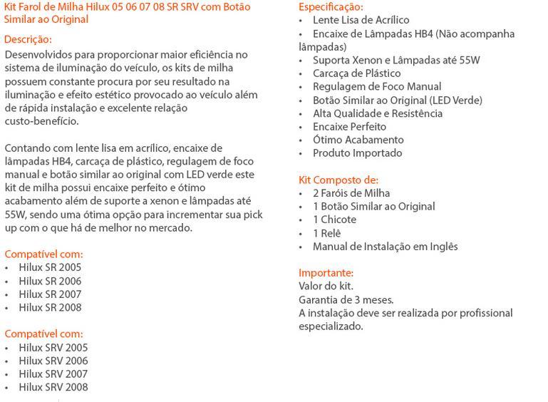 Kit Farol de Milha/Neblina Hilux 05/08 Completo Com Lâmpadas - SONNIC SOUND