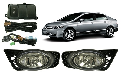 Kit Farol de Milha/Neblina New Civic 2009 Completo - SONNIC SOUND