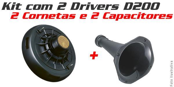 Kit Selenium 2 Driver D200 + 2 Cornetas + 2 Capacitor Grátis - SONNIC SOUND