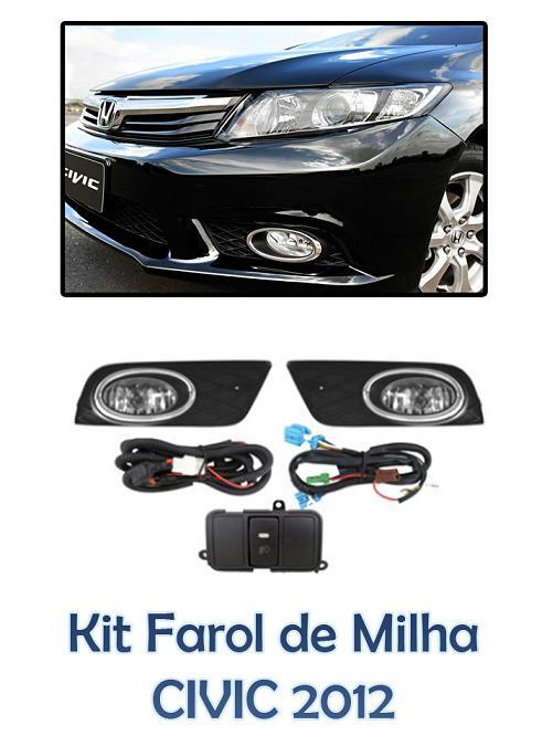 Kit Farol Auxiliar Milha/neblina Honda Civic  2012/2013/2014/2015 - SONNIC SOUND