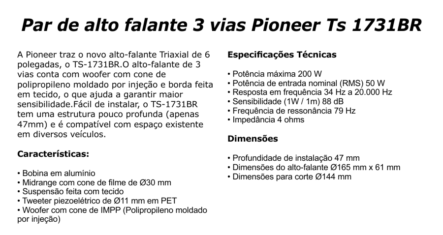 Par Alto Falantes Automotivo Pioneer Ts-1760br Triaxial 6 - SONNIC SOUND