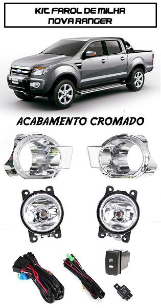 Kit Farol De Milha RANGER 2012/2013/2014 Moldura Acabamento Cromada - Com Botão Tipo Original - SONNIC SOUND