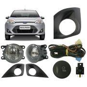 Kit de Farol Auxilar Milha/Neblina - Ford  Fiesta 2010/2011/2012/2013/2014 Botão Modelo Original - SONNIC SOUND