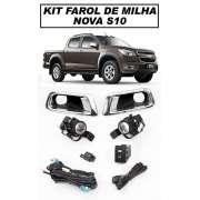 Kit Farol De Milha S10 2012/2013/2014/2015 - Com Botão Tipo Original - SONNIC SOUND