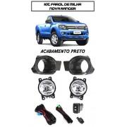Kit Farol De Milha RANGER 2012/2013/2014 Moldura  Acabamento Preto Com Bot�o Tipo Original (